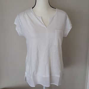 NWT White Linen T Shirt, Size Medium